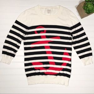 J. Crew || Stripe Anchor Crewneck Sweater Size M